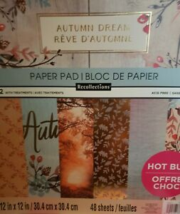 Recollections Autumn Dream Scrapbook Paper Pad - 12×12 - 48 sheets New