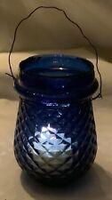 Antique Christmas Glass Fairy Lamp Candleholder - Cobalt Blue