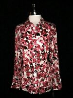 NEW FOXCROFT Size 14 Blouse Shirt Top Red Pink Floral Long Sleeve Fitted Fit