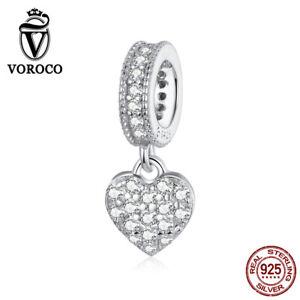 Women 925 Sterling Silver Shiny love Charms Beads Fit Bracelets Necklace VOROCO