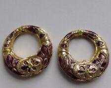 2 CLOISONNE Hoop Boucles d'oreille/Pendentif perles, violet/or, 25 mm. Bijoux/Bead Crafts