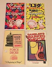 4 New Magic Trick Instruction Books Lot Svengali Stripped Marked Force Decks