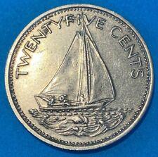 1977 Bahamas 25 Cents Bahamian Sloop Sailboat Coin