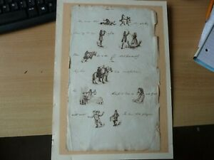 A rare 18th century antique pen and ink puzzle drawing headed Hamlet