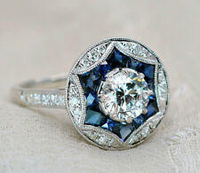 2.10Ct Vintage Art Deco Round Cut Diamond and Sapphire Engagement Ring 925Silver