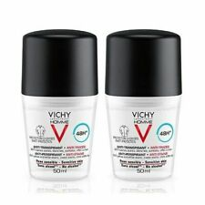 2X Vichy Homme Deodorant Anti-Stains 48H Sensitive Skin Roll-On 50ml