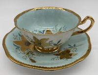 Rosina Bone China Tea Cup Saucer Gold Gilt Turquois Blue White Signed England