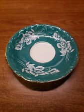 Vintage Aynsley England fine china SAUCER ONLY white rose & green