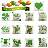 Happy St. Patricks Day Pillow Case Back Cushion Cover Spring Green Leaves Decor