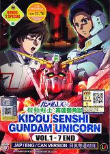 DVD Anime Kidou Senshi Gundam Unicorn Series (1-7 End + 2 Bonus) English Dub