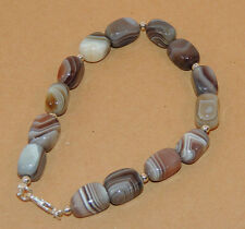"""Sterling Silver and 8x12mm Botswana Agate Rectangle bead Bracelet 8 5/8 """" (9640)"""