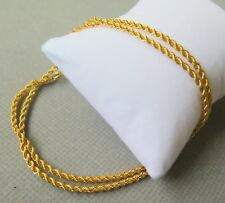 AU750 Pure 18k Yellow Gold 2.1mm W Rope Chain Necklace/ 2.8g /17.7inch