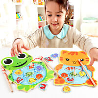 Baby Kid Magnetic Fishing Game Board Wooden Jigsaw Puzzle Educational Cat Toy UK