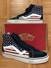 RARE🔥 VANS Sk8-Hi American Flag United States Of America USA Sz 9 Hi Top Shoes