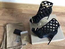 Authentic Burberry Edenside Laser Cut Peep Toe Ankle Boots Heels Sz 36 UK 3 NEW