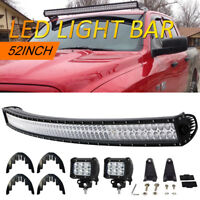 Curved LED Light Bar 52inch 700W Combo+ 2x 4'' Pods Jeep Ford 4X4 Offroad Kit