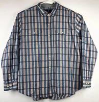 Tommy Bahama Mens Plaid Print Cotton Long Sleeve Button Down Shirt Sz 2XL