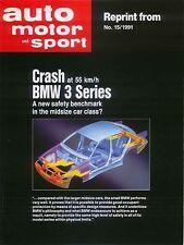 BMW 3-Series Saloon 325i E36 1991 Original UK Crash Test Results Brochure