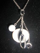 FOSSIL AUTHENTIC, SILVER TONE,MOTHER OF PEARL,PENDANT- CHARMS NECKLACE.