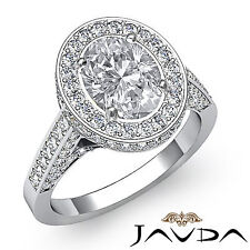 2.3 ct Oval Natural Diamond Engagement Ring G SI1 GIA 14k White Gold Halo Pave