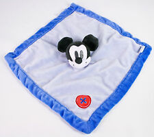 Disney Baby Mickey Mouse Plush Blue w/ Red Button Corner Security Blanket Lovey