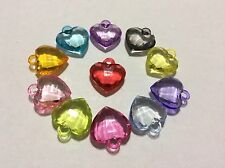 NEW Dazzling Heart Charms mixed Color Craft for Rainbow Rubber band w/ jump ring