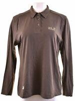 JACK WOLFSKIN Womens Polo Shirt Long Sleeve UK 18/20 2XL Brown Cotton  LU07