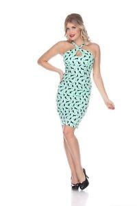 Bettie Page Cross My Heart Dress - Mint Cats