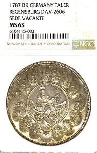 German States Regensburg 1787 Taler Coin Thaler NGC MS 63 VZ/STG UNC SEDE VACANT