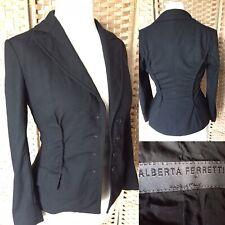 "ALBERTA FERRETTI Black 100% Virgin Wool Blazer Sz 8 L23"" Raised Seam STEAMPUNK"