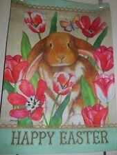 Happy Easter Floppy Ear Bunny Garden Flag 12 X 18 *