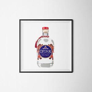 Opihr Gin Bottle Digital Illustration Wall Art Print Picture