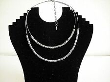 Fashion 2 Row Rounded 2 Tone Beads On a Wire Necklace - 18in