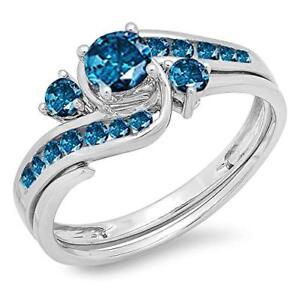 2.00Ct Blue Diamond Bridal Set Engagement Ring 14K White Gold Over For Gift