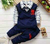 Toddler Kids Boy Outfit Clothes Clothing Infant Boy Beard Pattern Shirt+Trouser