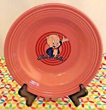 Fiestaware Looney Tunes Porky Pig Rose Rimmed Soup Bowl Fiesta Warner Bros Pink