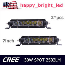 2X 7Inch 30W 6-LED Single Row Slim Led Light Bar Spot Fog Offroad Driving Lamp