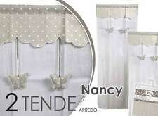 SET 2 TENDE ARREDO NANCY DECORO FARFALLE-CUORICINI 45*150 CM TSC-682322