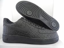 NIKE AIR FORCE 1 07 LV8 SZ 11 ALL BLACK CROC PRINT! [718152-007]