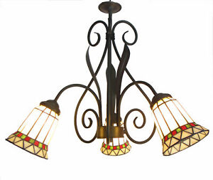 Tiffany Chandelier Stained Glass Lamp Ceiling Pendant Light Fixture Wrought Iron