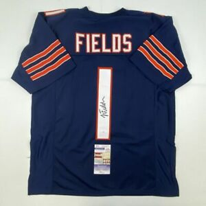 Autographed/Signed JUSTIN FIELDS Chicago Blue Football Jersey JSA COA Auto