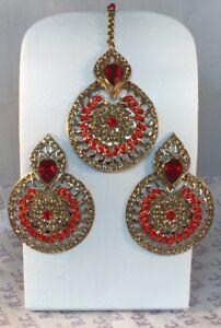 Gold & Red Diamanté Earrings & Tikka Set Round Bollywood Pakistani Style Bridal