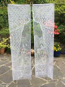 Pair Vintage French Pictorial Coloured Net Curtains 86cm W x 162cm L