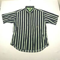 Vintage Tommy Hilfiger Button Down Shirt Mens XL Blue Green Striped Short Sleeve