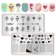 2Pcs BORN PRETTY Rose Line Nail Stamping Plates Flower Arrow Nail Art Templates