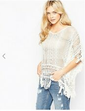 ASOS women Vila ivory lace fringed Poncho 100% cotton lace top in size EUR M
