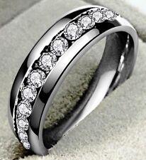 Da Donna/Da Uomo Full Eternity Banda 4MM stile RING SZ Q US 8 SWA Crystal Silver SS