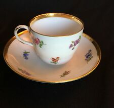 Meissen Demitasse Tea Cup and Saucer White with Flowers Gold Trim