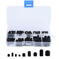 Steel Allen Head Socket Hex Set Grub Screw Cup Point Assortment Kit 200Pcs