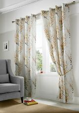 "Tokyo Lined Curtains Eyelet Top 3 Fabulous Colours Luxurios Printed Voile Yellow 56""x90"""